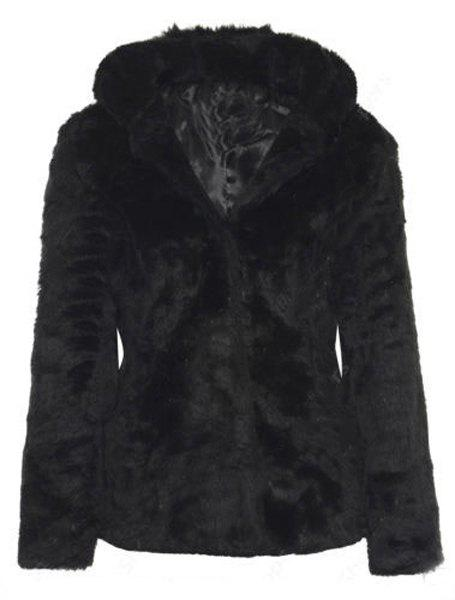 Buy Trendy Women's Hooded Long Sleeve Pure Color Faux Fur Coat BLACK