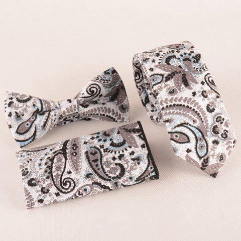 One Set Fashion Coffee Color Paisley Pattern Tie Handkercheif and Bow Tie