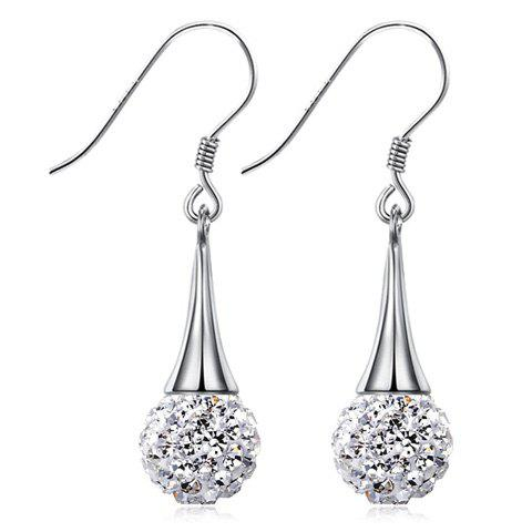 Pair of Rhinestoned Ball Earrings - SILVER