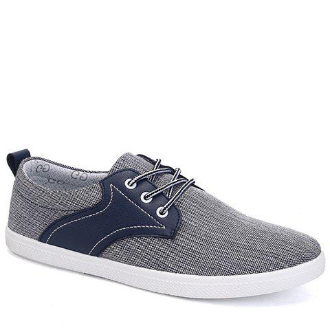 Trendy Splicing and Colour Block Design Men's Canvas Shoes - DEEP BLUE 42