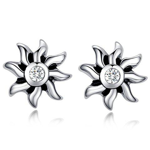 Rhinestone Floral Stud Earrings - SILVER