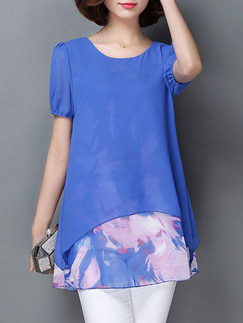 Casual Short Sleeve Scoop Neck Faux Twinset Women's Chiffon Blouse - BLUE M