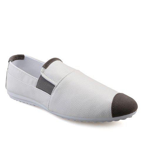 Stylish Colour Block and Elastic Design Men's Casual Shoes - WHITE 44