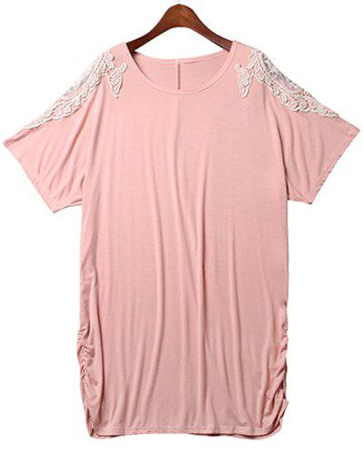 Plus Size Stylish Round Neck Batwing Short Sleeve Lace Spliced Loose Women's Dress - LIGHT PINK 3XL