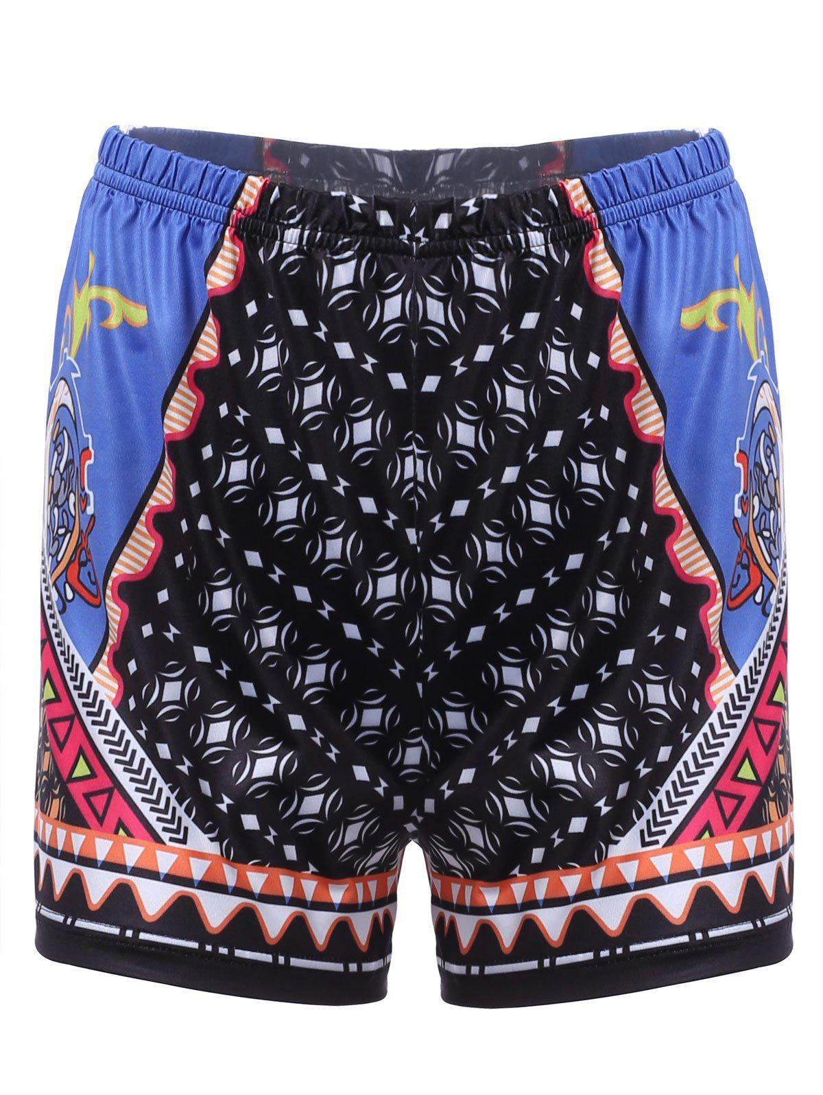 Chic Geometrical Print Beach Shorts For Women chic mult color trimmed beach shorts