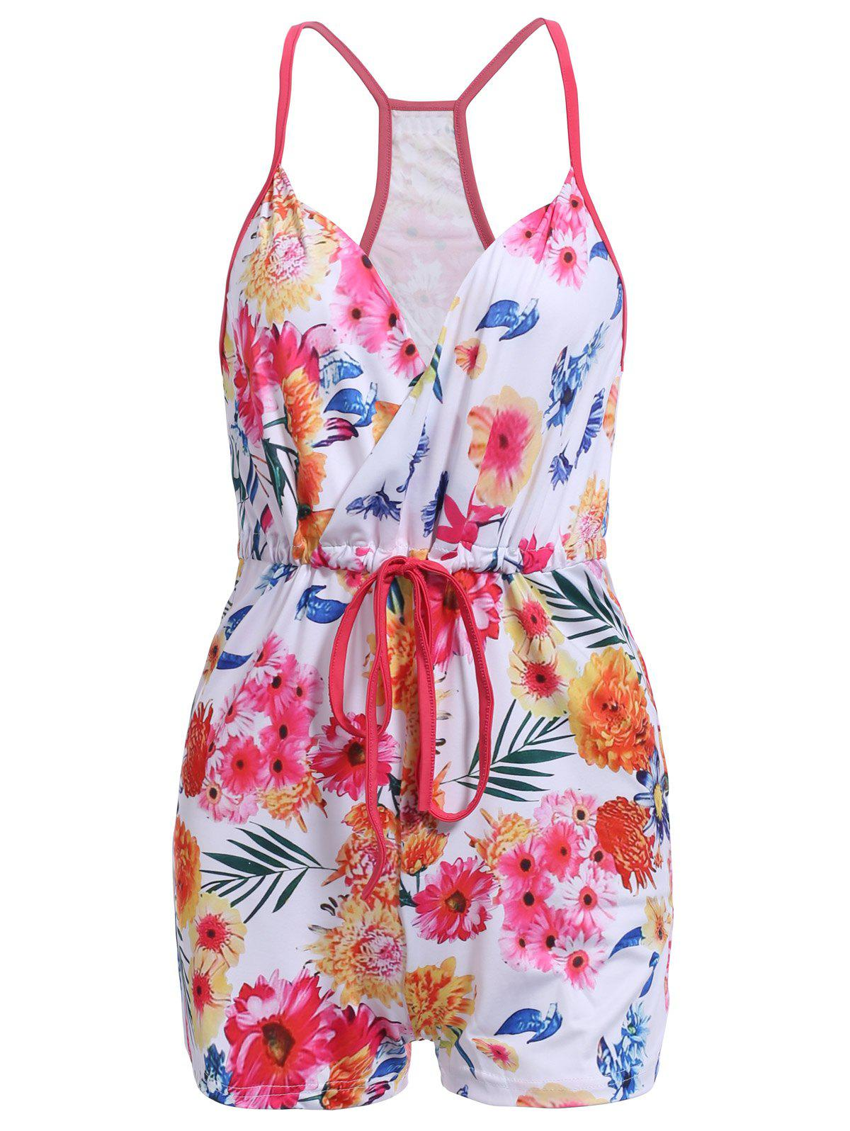 Trendy Lace-Up Spaghetti Strap Floral Print Romper For Women - COLORMIX S