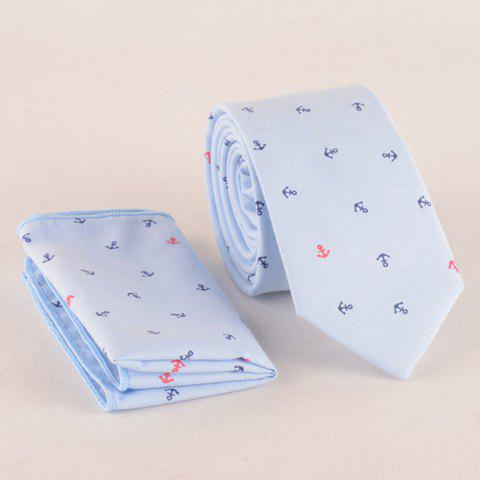 One Set Fashion Boat Anchor Pattern Light Blue Tie and Handkercheif - LIGHT BLUE
