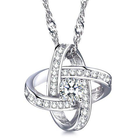 Star Rhinestoned Pendant Necklace - SILVER