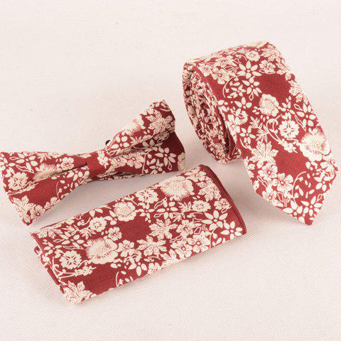One Set Fashion Flowers Pattern Red Tie Handkercheif and Bow Tie - RED