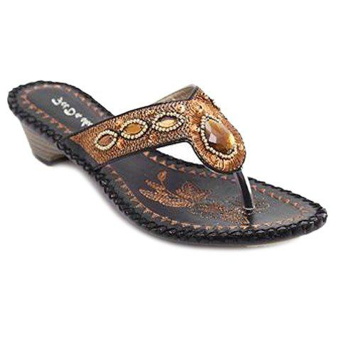 Bohemian Embroidery and Rhinestone Design Women's Slippers - BLACK 36