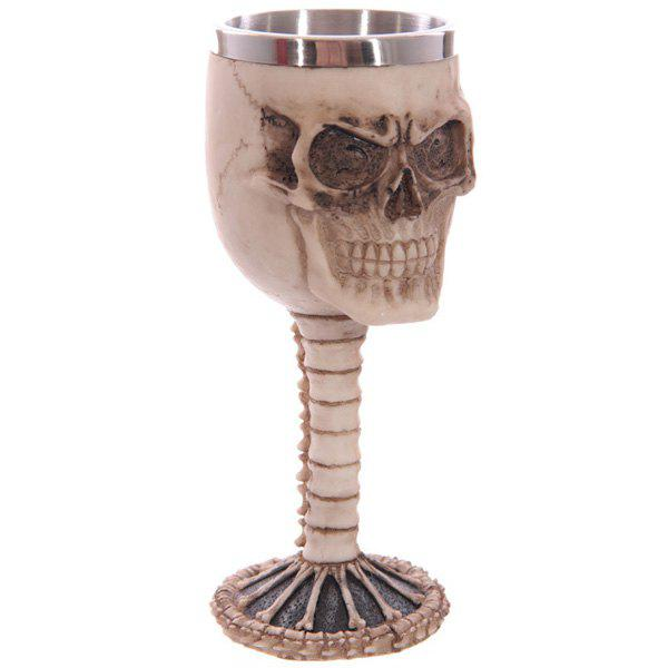 High Quality Home Decoration 3D Resin Skull Shape Stainless Steel Wine Goblet