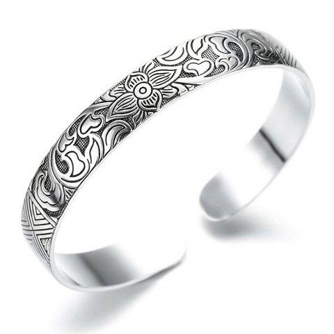 Carving Floral Cuff Bracelet - SILVER