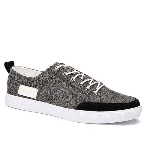 Fashionable Lace-Up and Splicing Design Men's Canvas Shoes - GRAY 42