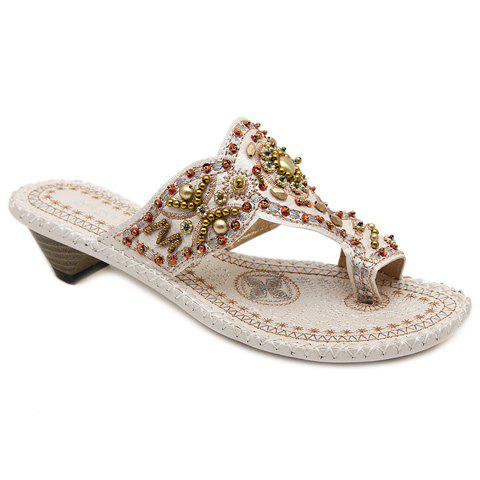 Vintage Beading and Chunky Heel Design Women's Slippers - WHITE 36