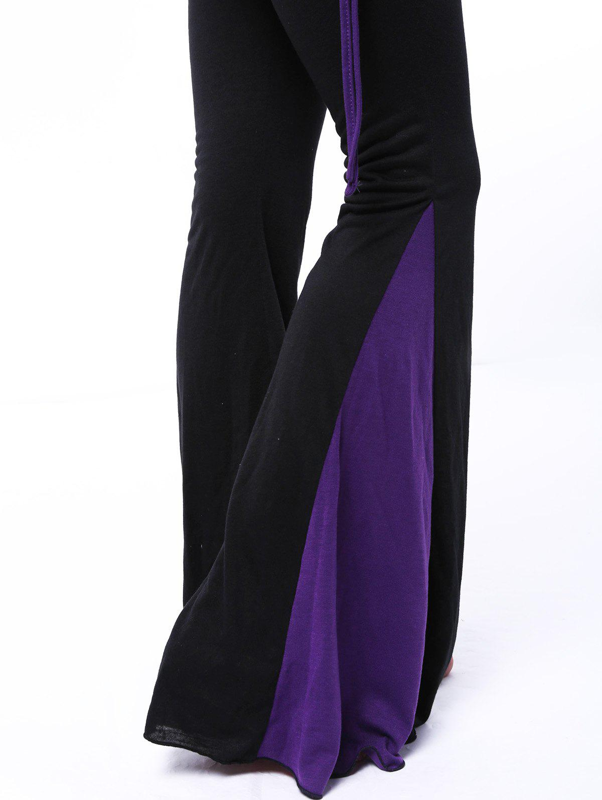 Chic Elastic Waist Loose-Fitting Hit Color Women's Pants - PURPLE S