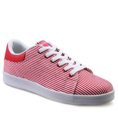 Simple Lace-Up and Striped Design Men's Canvas Shoes - RED 43