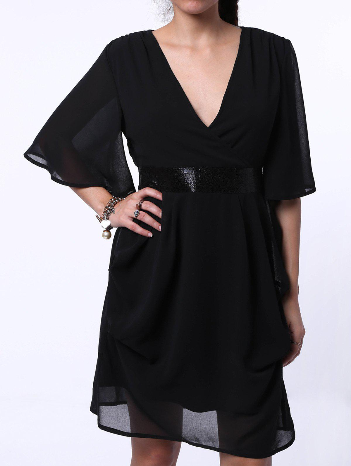 Trendy Plunging Neck Bell Neck Chiffon Sequined Dress For Women - BLACK XL