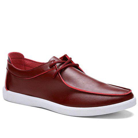 Concise PU Leather and Solid Color Design Men's Casual Shoes - WINE RED 42
