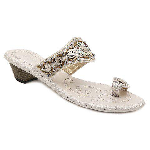 Casual Beading and Toe Ring Design Women's Slippers - WHITE 39