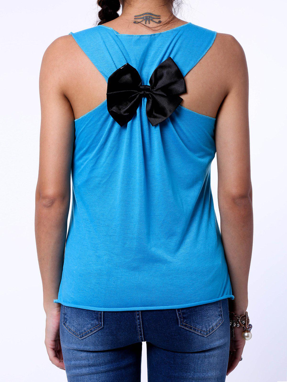 Sweet Back Bowknot Design Letter Print Tank Top For Women - LAKE BLUE S