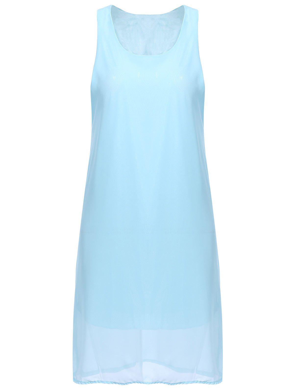 Bowknot Chiffon Mini Tank Dress - AZURE L