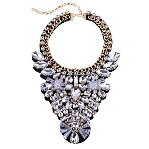 Faux Crystal Water Drop Alloy Chain Necklace - WHITE