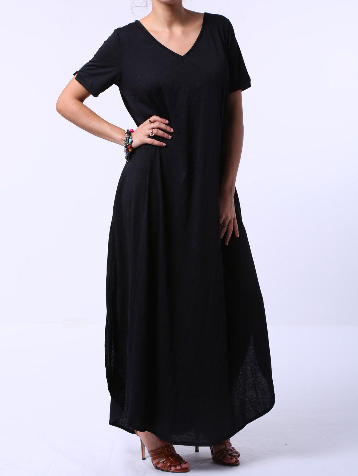 Stylish Women's V-Neck Short Sleeve Solid Color Maxi Dress - BLACK M