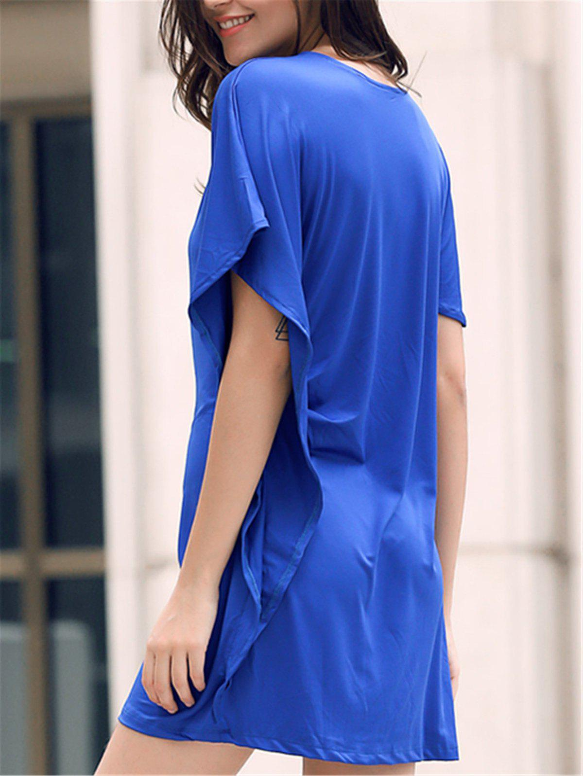 Casual Women's Round Neck Cap Sleeve Pure Color Dress - BLUE ONE SIZE(FIT SIZE XS TO M)