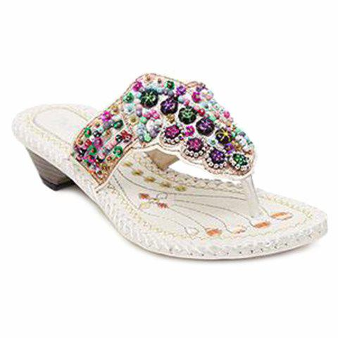 Rhinestone Beaded Bohemian Slippers - WHITE 40