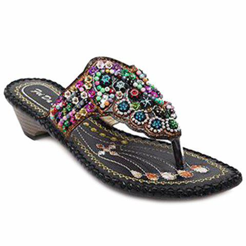 Ethnic Beading and Flip Flop Design Women's Slippers - BLACK 37