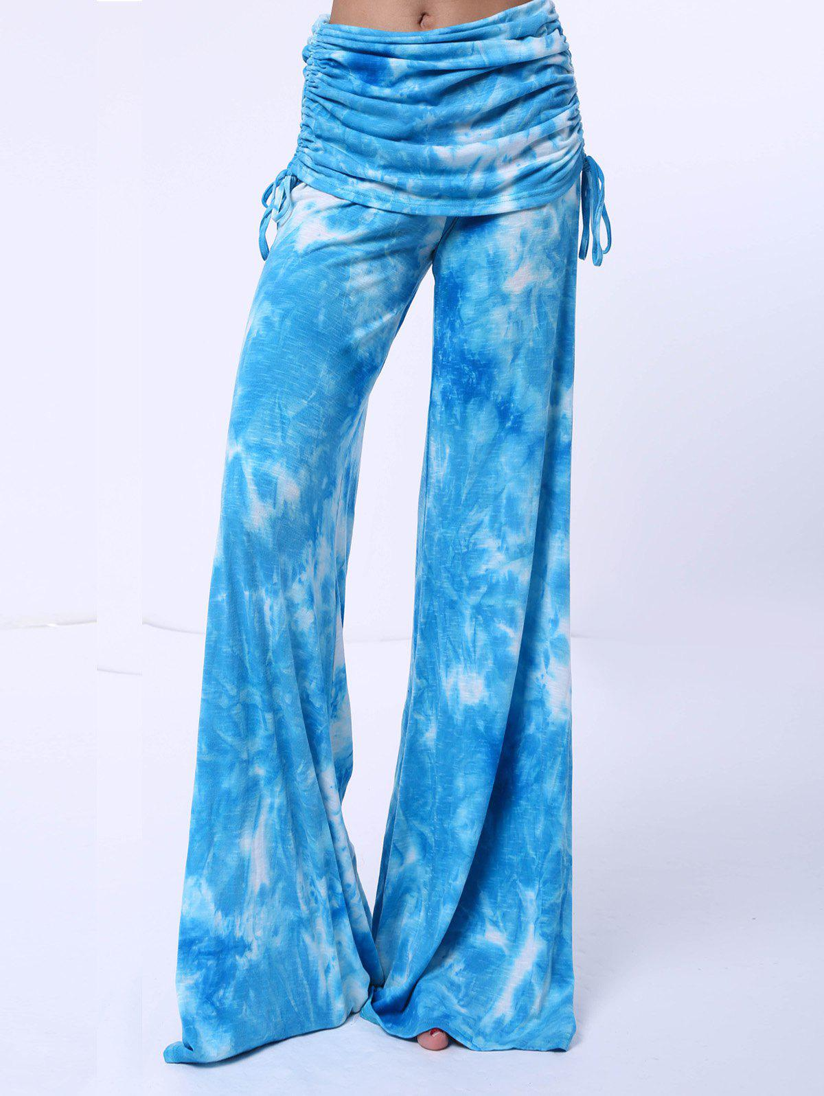 Chic Printed Mid-Waist Loose-Fitting Women's Pants - BLUE S