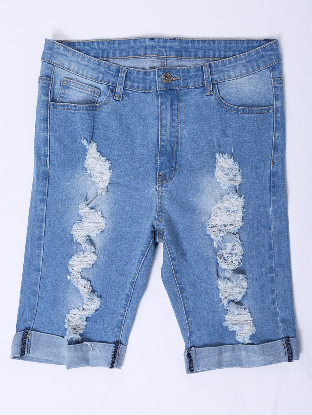 Casual Women's Bleach Wash Denim Shorts