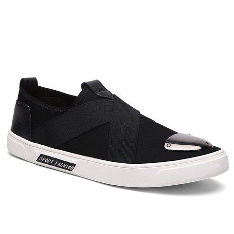 Stylish Elastic Band and Metal Design Men's Casual Shoes - BLACK 44
