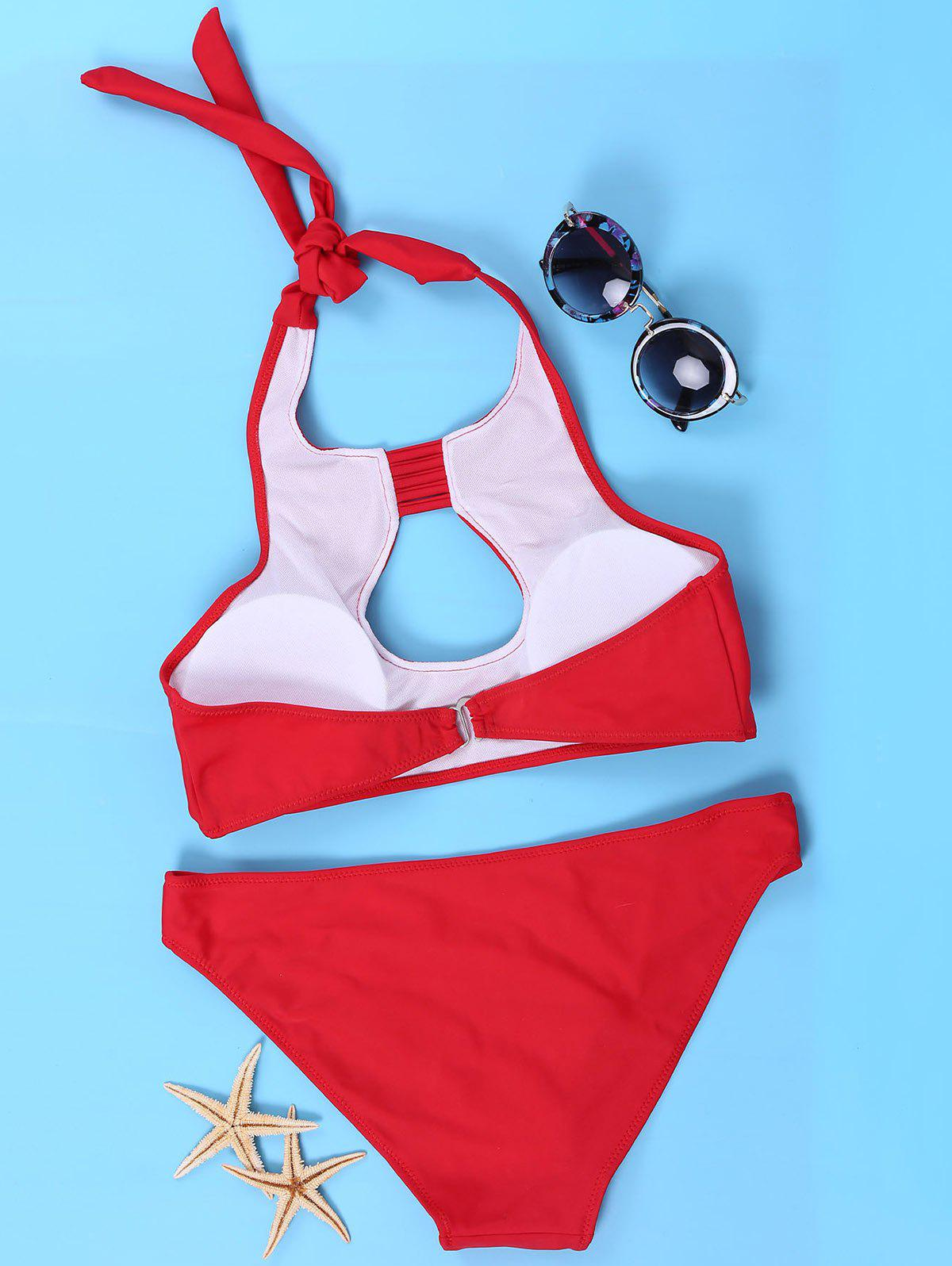 Sexy Halter Red Cut Out Bikini SuitFor Femmes - Rouge L