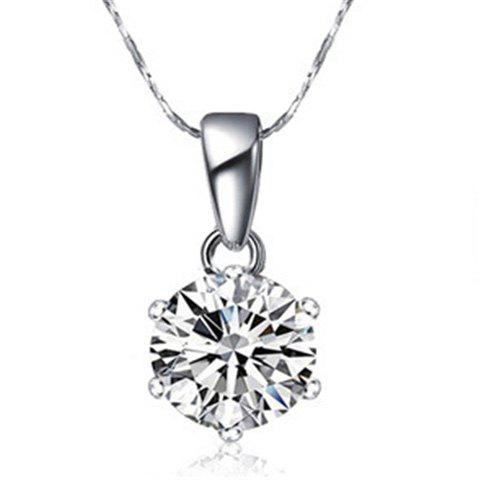 Faux Zircon Pendant Necklace - SILVER