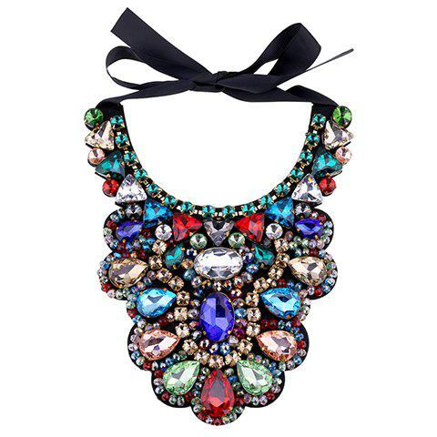 Gorgeous Faux Crystal Water Drop Beads Bowknot Necklace For Women