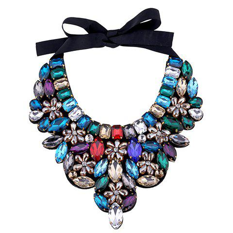 Floral Faux Crystal Bowknot Necklace