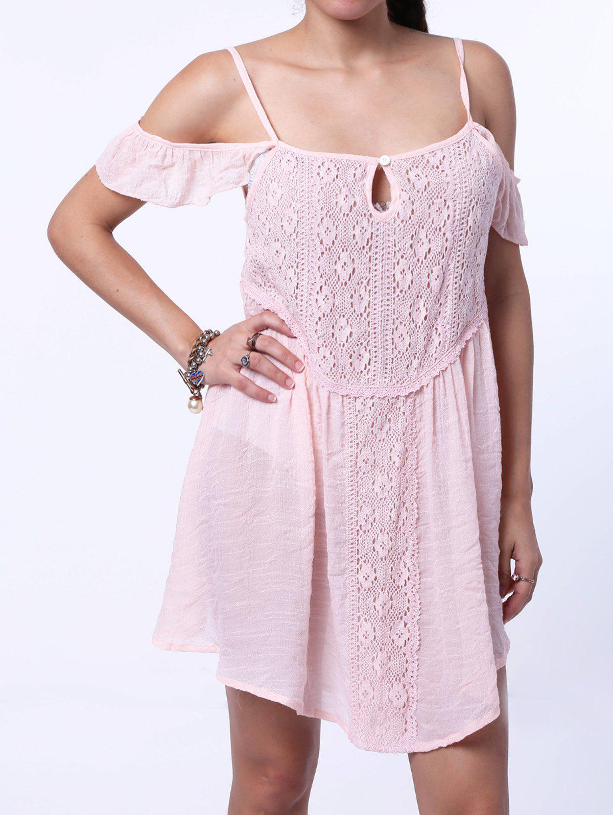 Bohemian Lace Embellished Strappy Dress For Women - SHALLOW PINK M