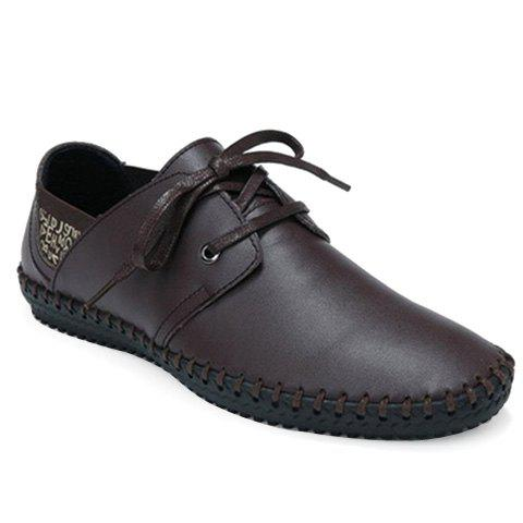 Stylish Stitching and Lace-Up Design Men's Casual Shoes - DEEP BROWN 44