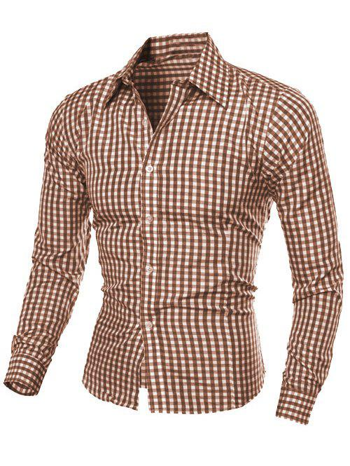 Casual Slimming Turn-Down Collar Pliad Print Long Sleeve Men's Shirt - COFFEE M
