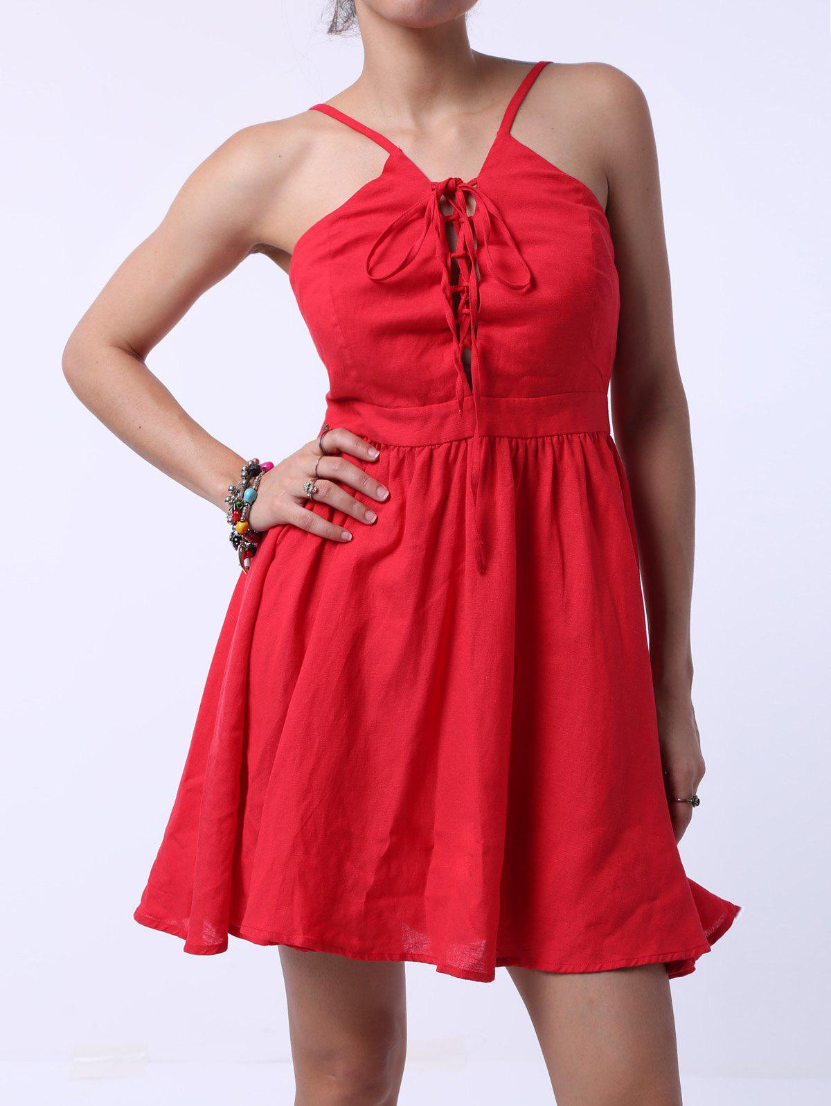 Sexy Women's Strappy Lace-Up A-Line Dress - RED L