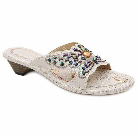 Bohemian Beading and Bow Design Women's Slippers