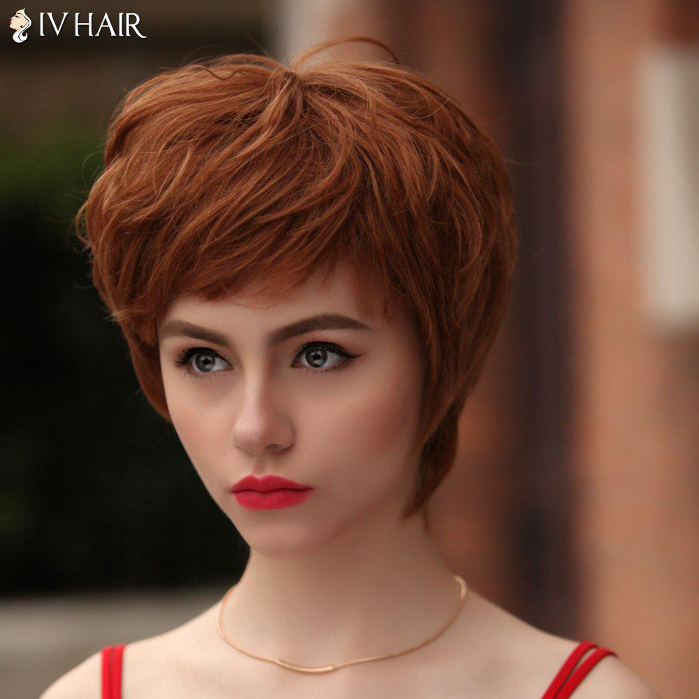 Vogue Short Multicolor Fluffy Natural Wave Siv Hair Human Hair Wig For Women - AUBURN BROWN