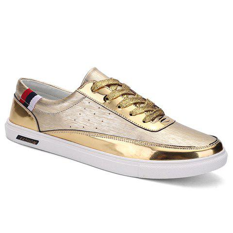 Fashionable Splicing and PU Leather Design Men's Casual Shoes - GOLDEN 40