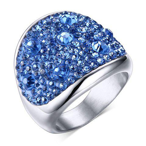 Titanium Steel Rhinestone Embellished RingJewelry<br><br><br>Size: ONE-SIZE<br>Color: BLUE