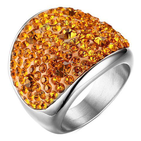 Chic Titanium Steel Colored Rhinestone Ring For Women