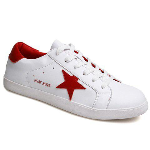 Stylish Colour Block and Star Pattern Design Men's Casual Shoes - RED/WHITE 43