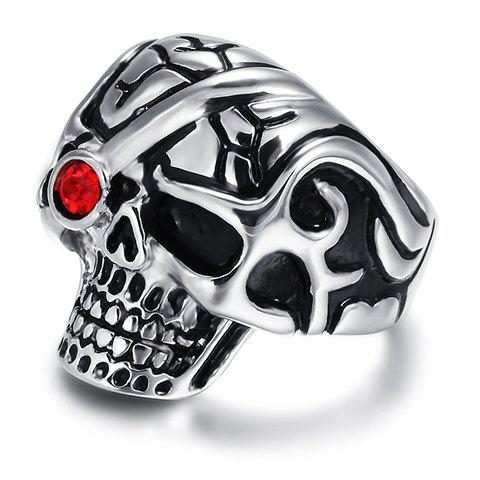 Chic Alloy Rhinestone Skull Ring For Men - RED ONE-SIZE