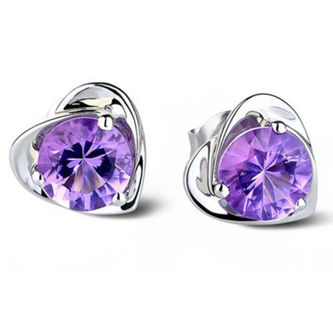 Pair of Heart Faux Zircon Stud Earrings - PURPLE