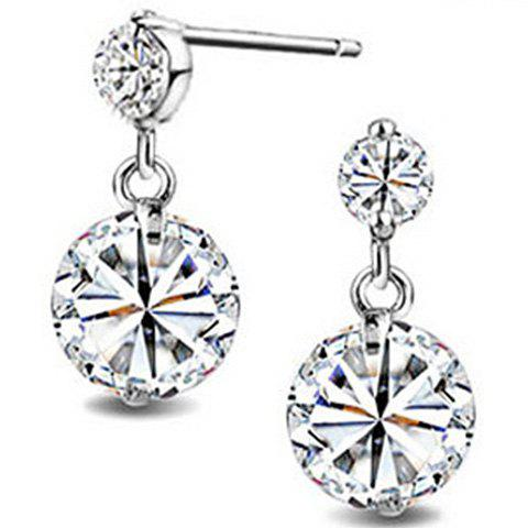 Fake Diamond Drop Earrings - SILVER